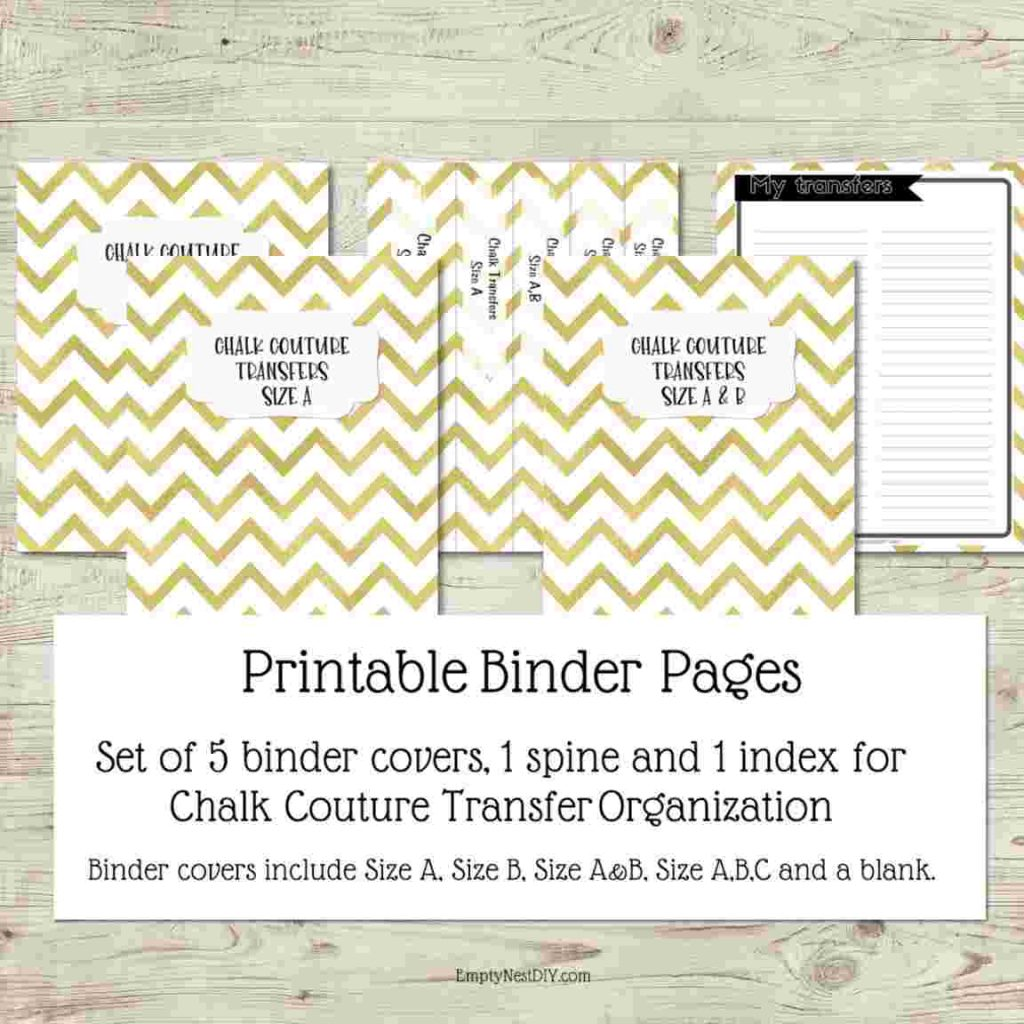 printable binder pages for transfer organization