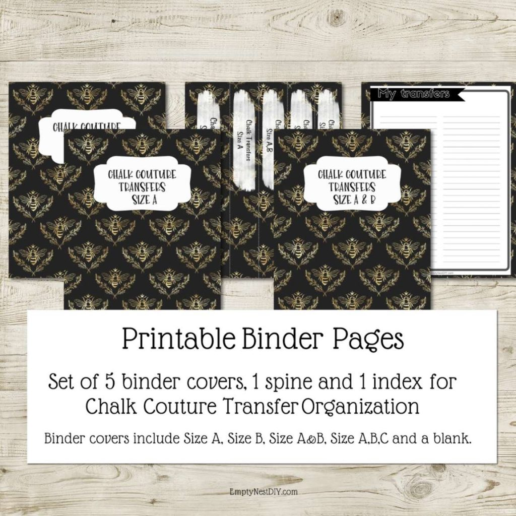 binder pages and spine and index printable