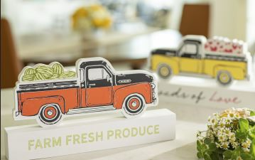 chalk couture vintage truck wood cutouts. use the chalk transfer on the wood shapes for year long fresh decorations