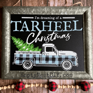 vintage truck from chalk couture designed for Christmas using the vintage truck winter add-on and farmhouse christmas transfer.