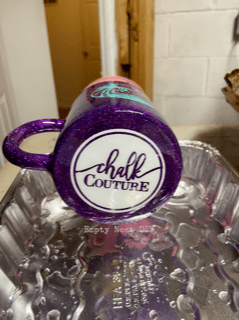 diy glitter cup with chalk couture design using mini transfer
